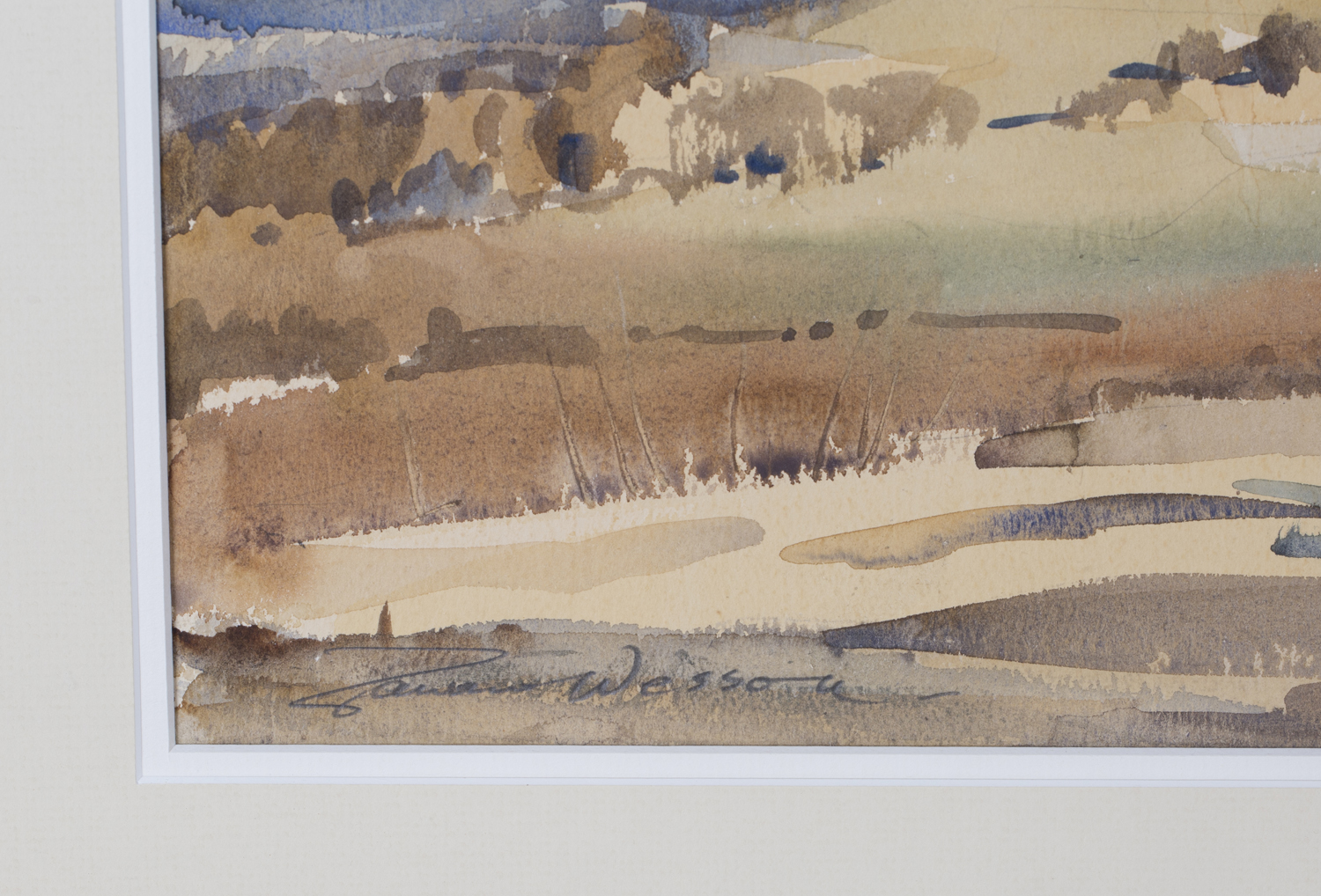 Lot 9 - Edward Wesson - View of a Distant Windmill, 20th century watercolour, signed in pencil, 31cm x 49.