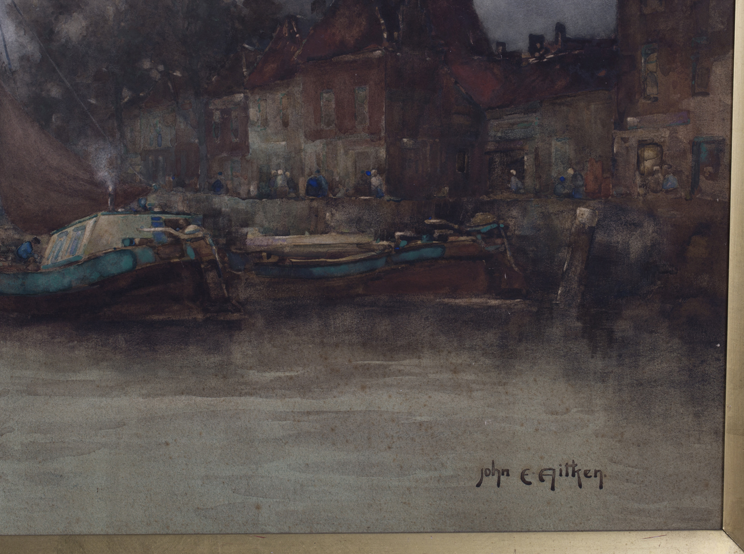 Lot 20 - John Ernest Aitken - 'Delfshaven, Rotterdam', 19th century watercolour, signed recto, titled label