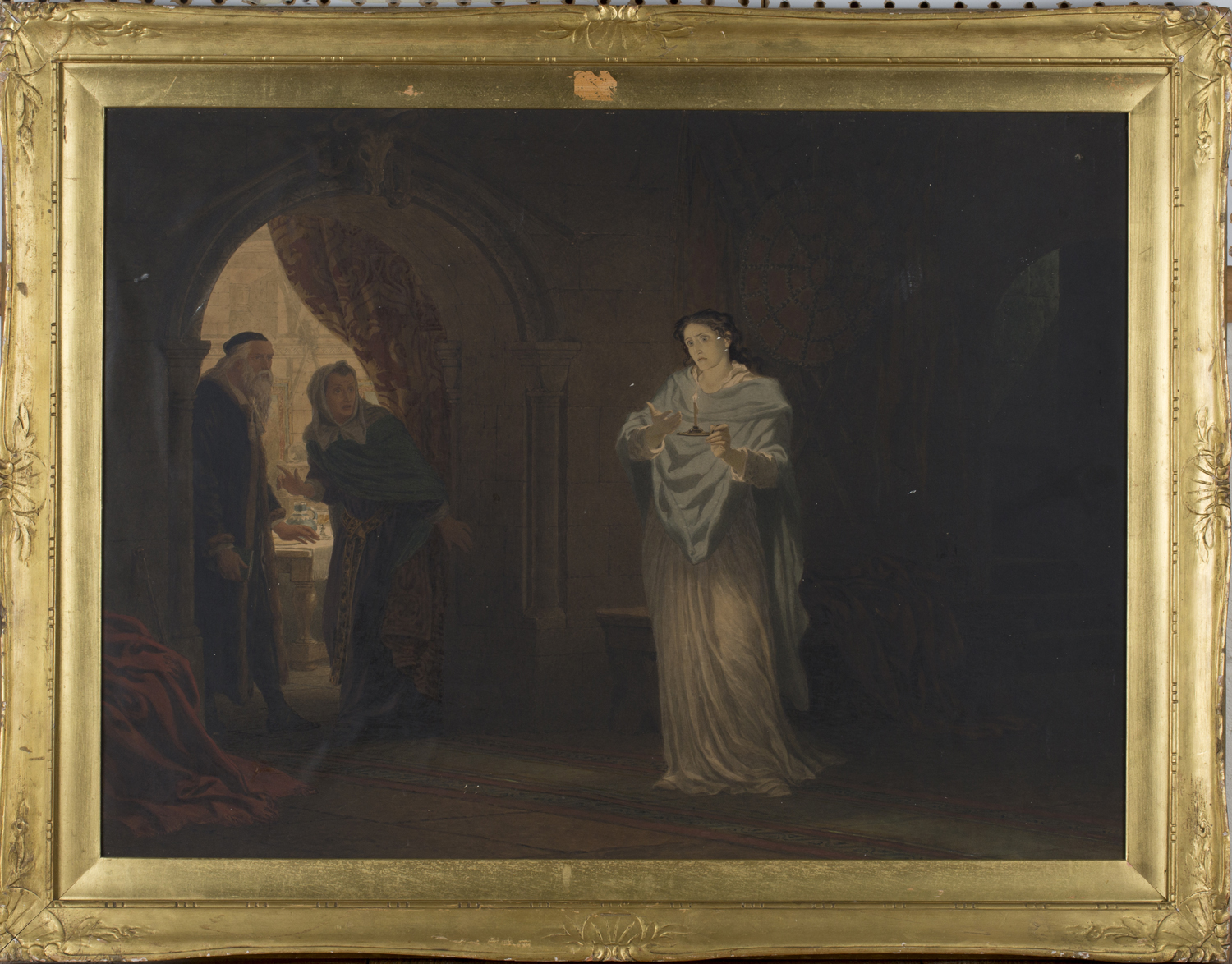 Lot 30 - Henry Anelay - 'A Scene from Macbeth', 19th century watercolour, signed recto, titled label verso,