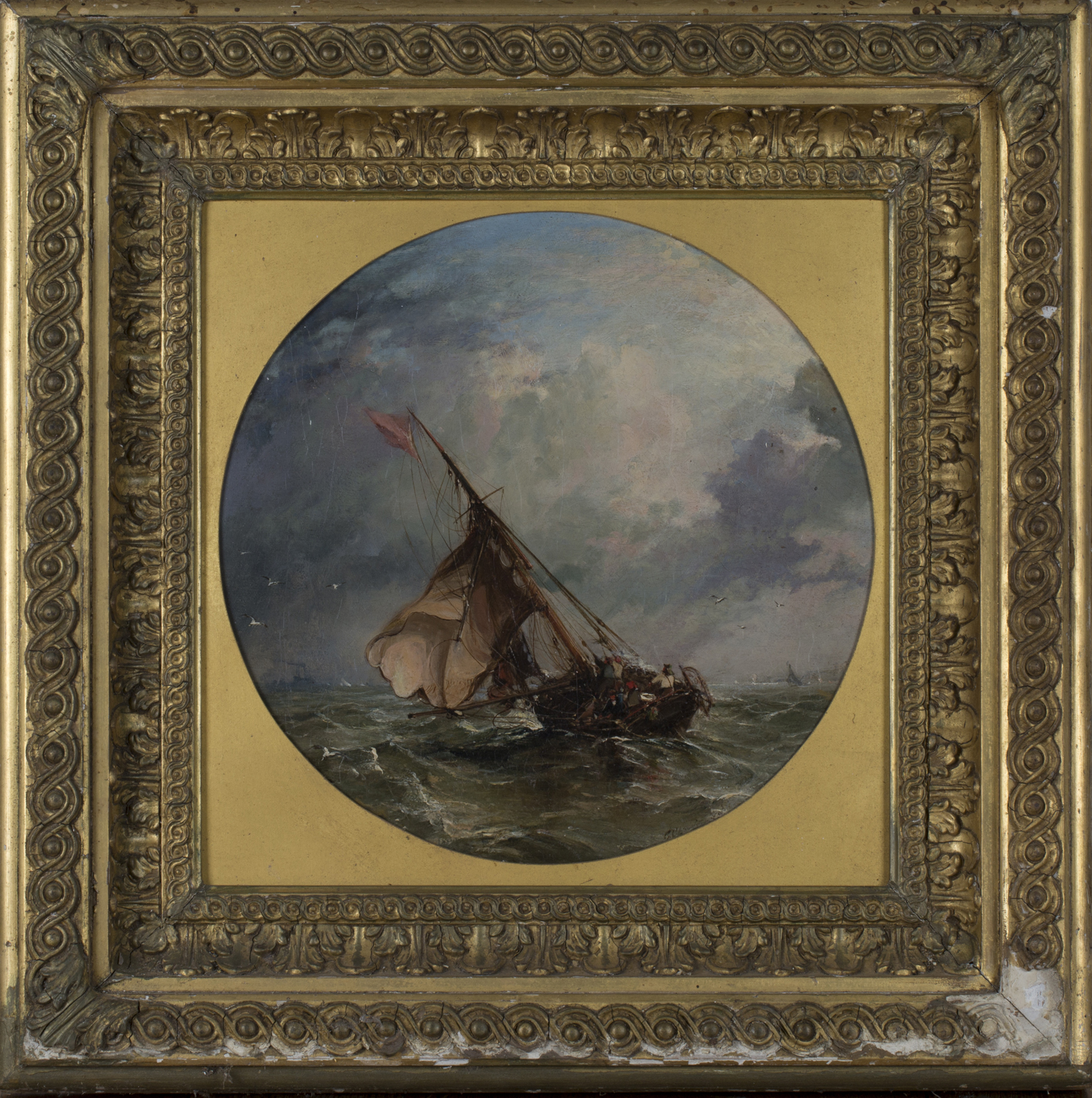 Lot 47 - Circle of George Chambers - Tondo Seascape with Sailing Vessels in a Stiff Breeze, 19th century
