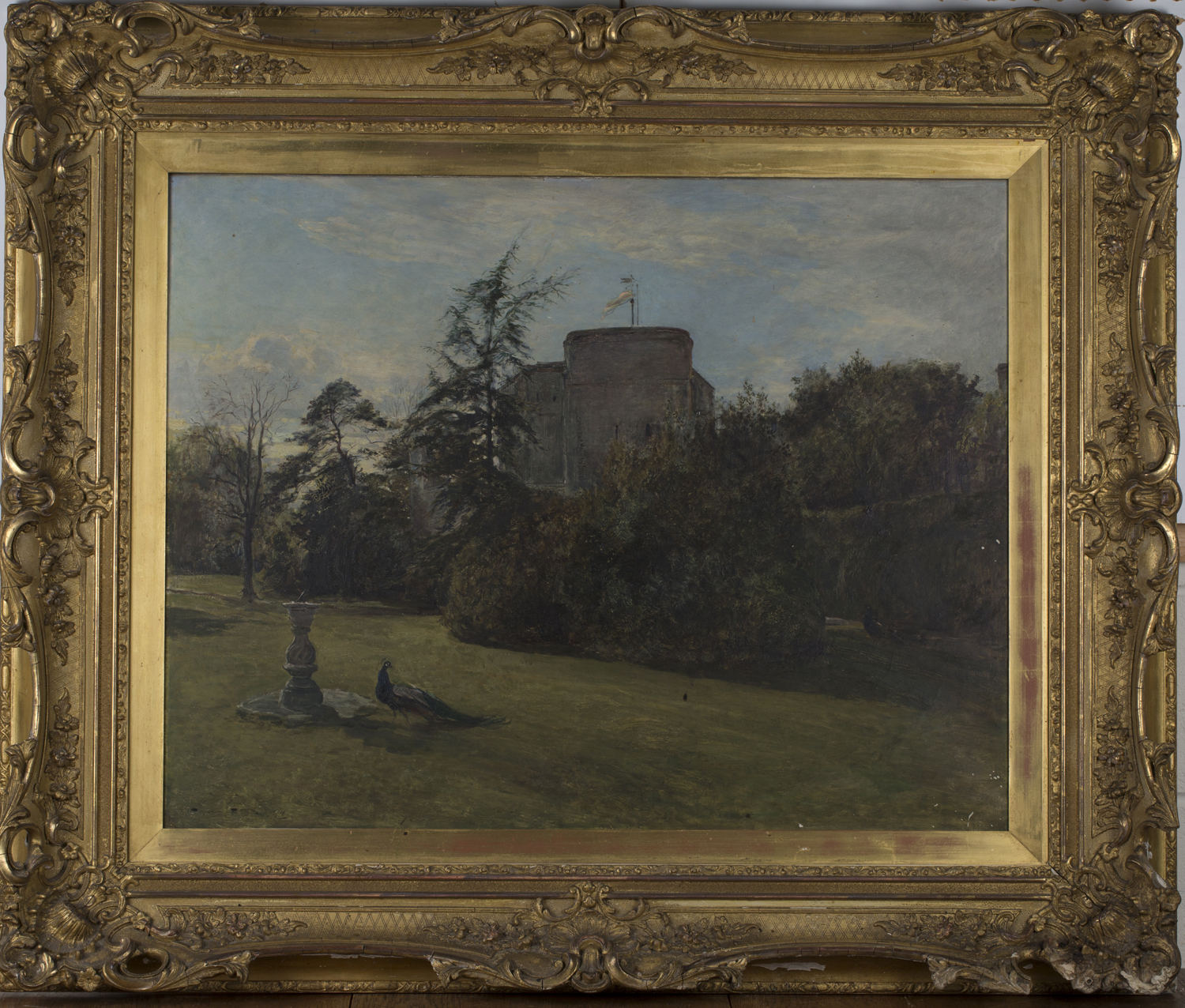 Lot 38 - Heywood Hardy - Peacocks in a Garden, a Tower beyond, oil on canvas, signed and dated 1914, 70cm x