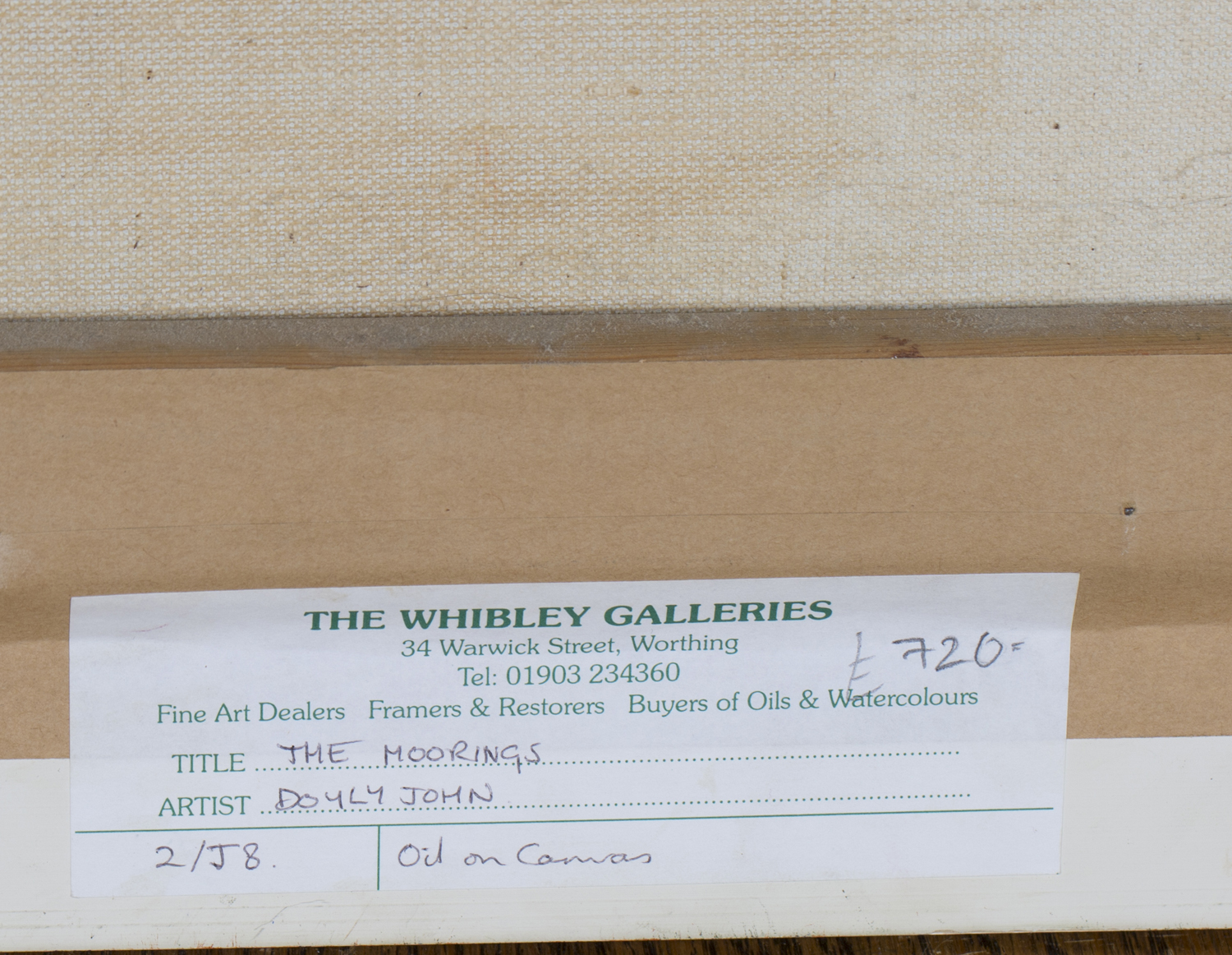 Lot 6 - Cecil R. Doyly-John - 'The Moorings', 20th century oil on canvas, signed recto, labels and study