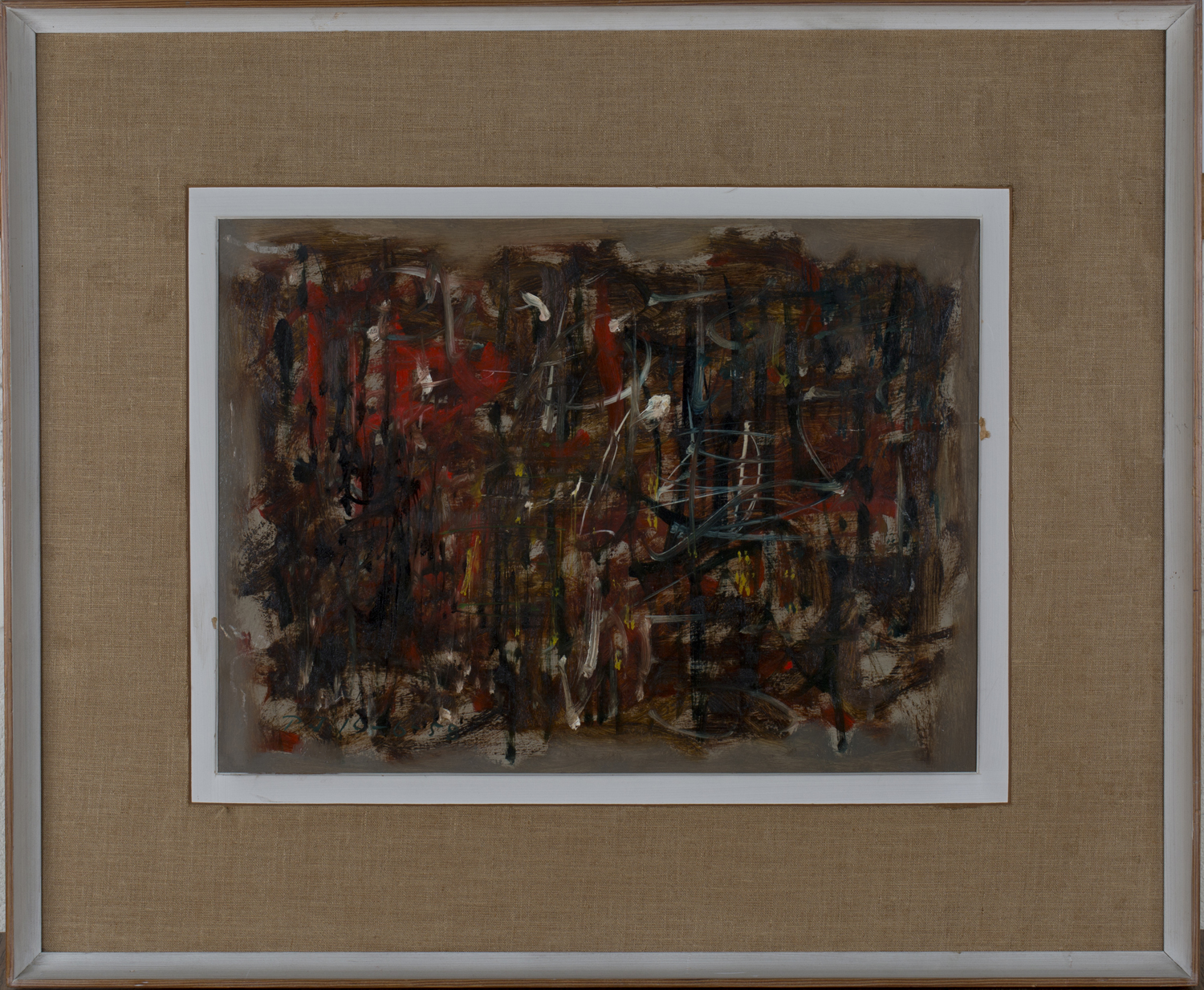Lot 22 - Peter Jones - Abstract, 20th century oil on board, signed with initials and dated '58 recto,