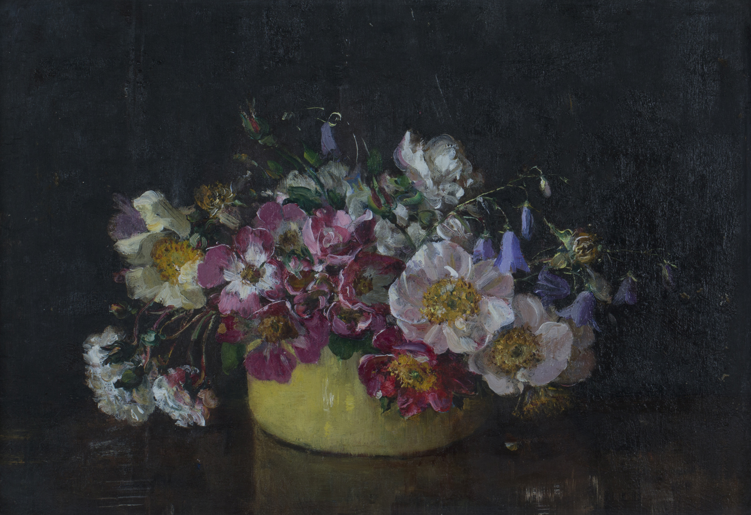 Emily Beatrice Bland - 'Single Roses in a Yellow Bowl', early 20th century oil on board, artist's