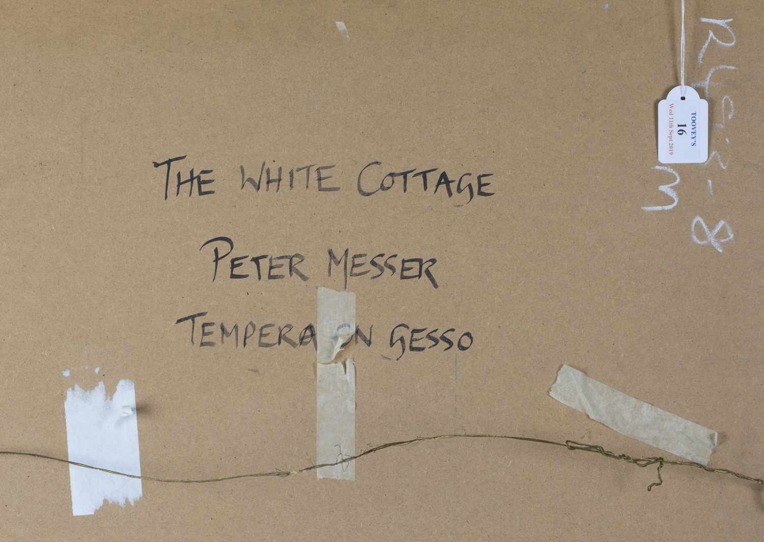 Lot 16 - Peter Messer - 'The White Cottage', 20th century tempera on board, signed recto, titled verso, 75.