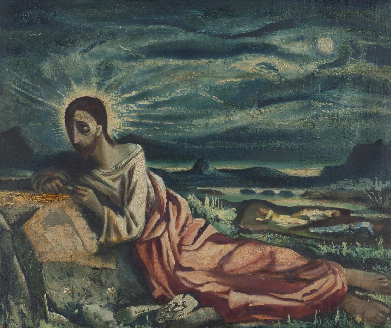Lot 7 - Daniel O'Neill - 'Gethsemane' (Christ reclining in a Landscape), 20th century oil on canvas,