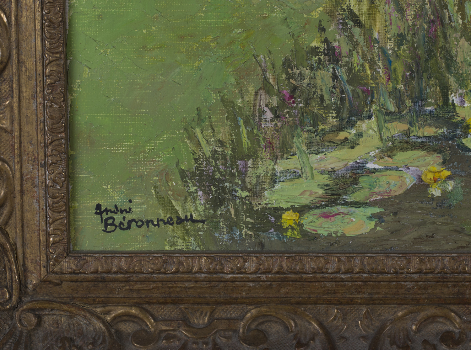 Lot 25 - André Beronneau - 'Old Mill, Brittany', 20th century oil on canvas, signed recto, titled Frost &
