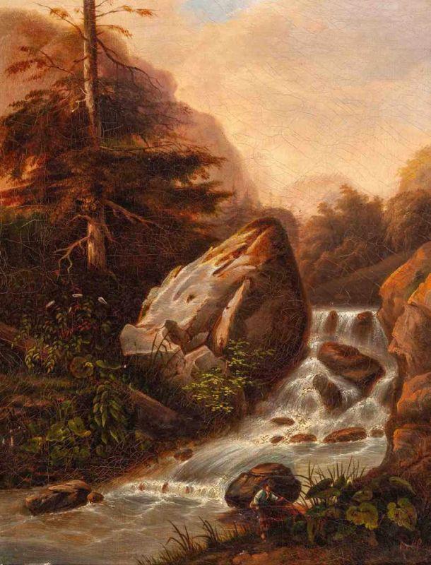 Lot 35 - Jean François Xavier Roffiaen (Ypres 1820 - Elsene 1898)WaterfallSigned lower rightOil on canvas,