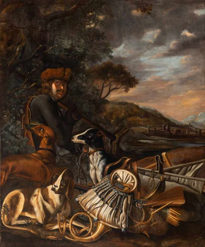 Lot 10 - Attributed to Anthonie Leemans (The Hague 1630/1631 - Amsterdam/Dordrecht 1671/1673)A huntsman