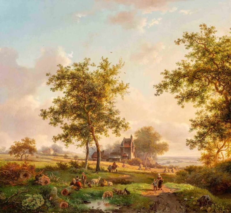 Lot 34 - Frederik Marinus Kruseman (Haarlem 1816 - Saint-Gilles 1882)A panoramic summer landscape with