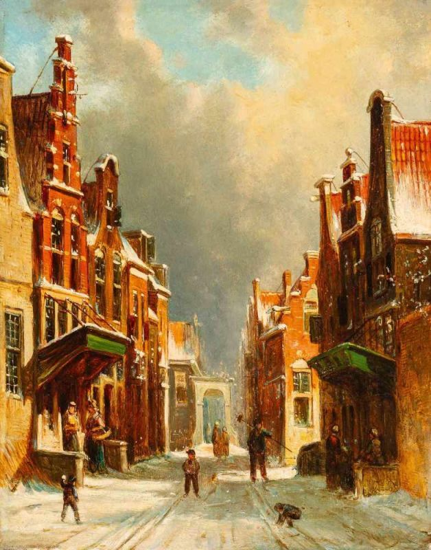 Lot 57 - Petrus Geradus Vertin (The Hague 1819 - 1893)Snowball fight in a sunlit streetIndistinctly signed