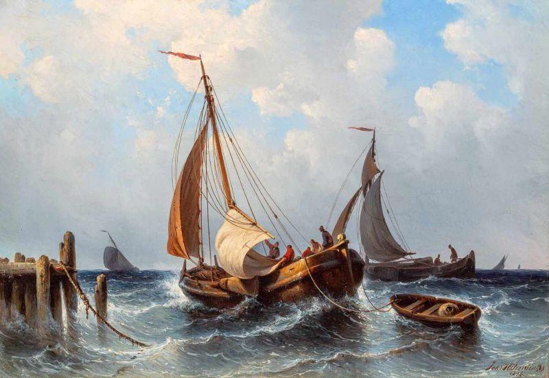 Lot 43 - Johannes Hilverdink (Groningen 1813 - Amsterdam 1902)Sailing ships at a harbourSigned and dated 1854