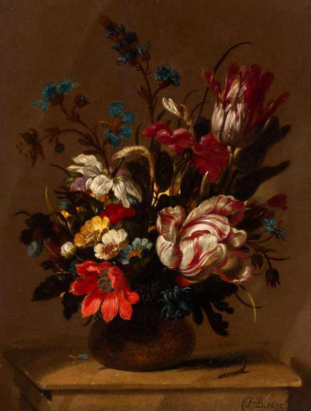 Lot 14 - Hans Bollongier (Haarlem 1598/1602 - 1672/1675)Bouquet on a stone pedestalMonogrammed and dated 1672