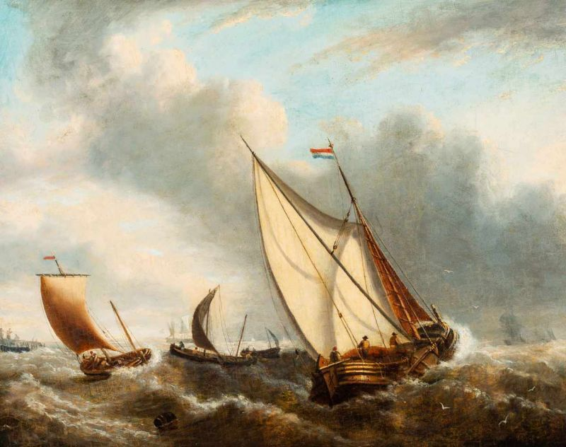 Lot 42 - Charles Martin Powell (Chichester 1775 - London 1824)Dutch fishing vessels off the coastTraces of