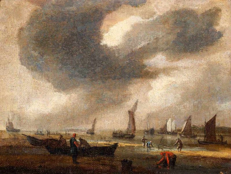 Lot 7 - Reinier Nooms, called 'Zeeman' (Amsterdam 1623/1624 - 1664)Fishermen and vessels on the