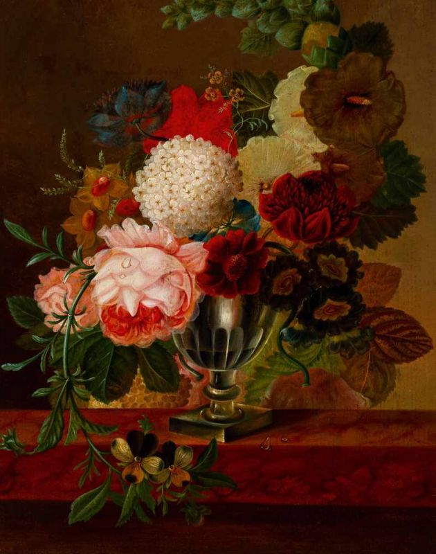 Lot 15 - Johannes Cornelis Bruyn (active 1763 - after 1828)Still life of flowers on a marble plinth Oil on