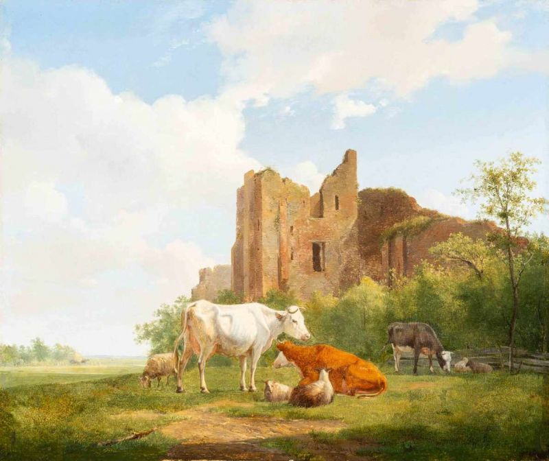 Lot 30 - Hendrikus van de Sande Bakhuyzen (The Hague 1795 - 1860)Grazing cattle near the ruins of Brederode