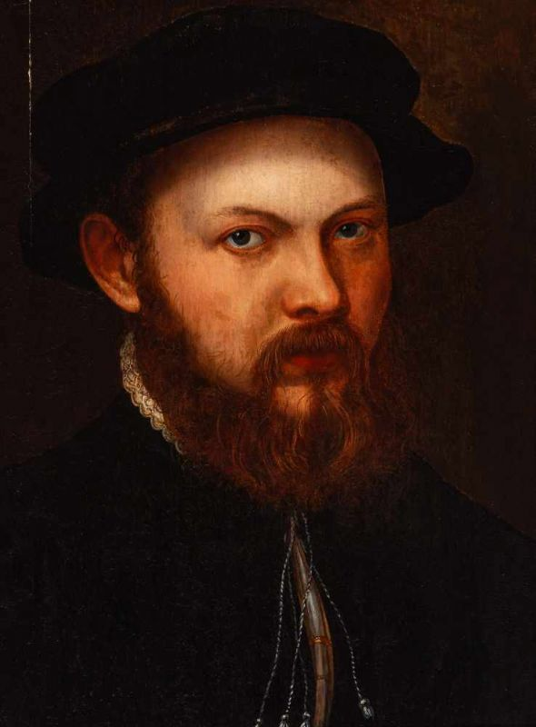 Lot 17 - Italian School (circa 1600)Portrait of a young bearded manOil on panel, 42.3 x 32.6 cm