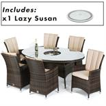 Rattan LA 6 Seat Oval Outdoor Dining Set With Lazy Susan (Brown) *BRAND NEW*