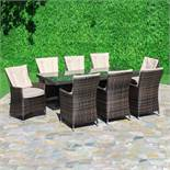 LA 8 Seat Rectangle Outdoor Dining Set (Brown) *BRAND NEW*
