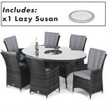 Rattan LA 6 Seat Oval Outdoor Dining Set With Lazy Susan (Grey) *BRAND NEW*