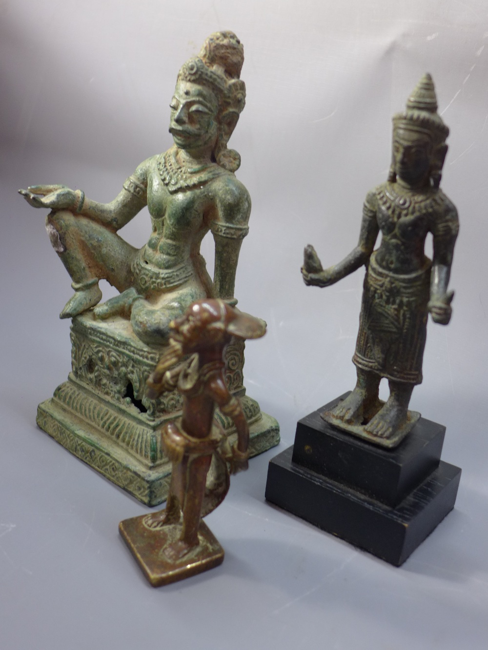 Lot 50 - A collection of antique Cambodian bronze figures