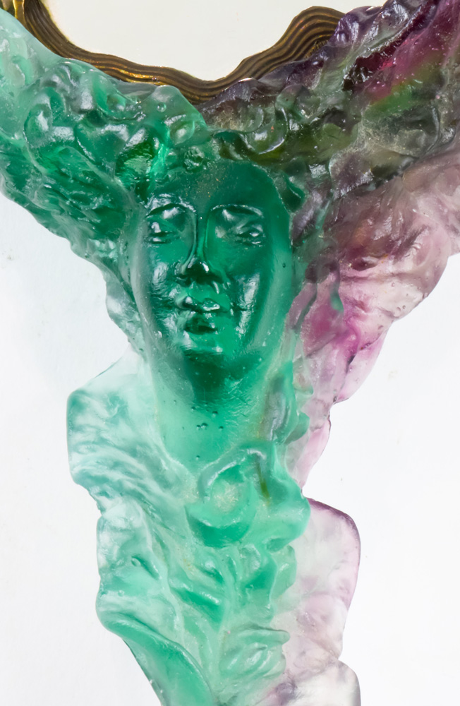 Lot 2037 - A Daum France pate de verre hand mirror