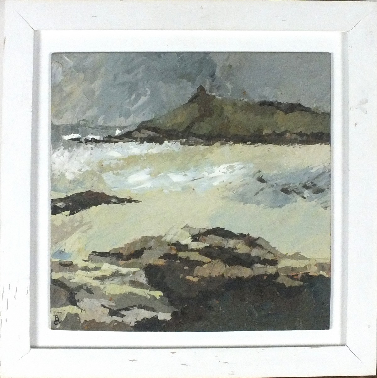 Lot 58 - * David BEER (b.1943), Acrylic on board, 'The Island' - St Ives, Inscribed on label, Signed with
