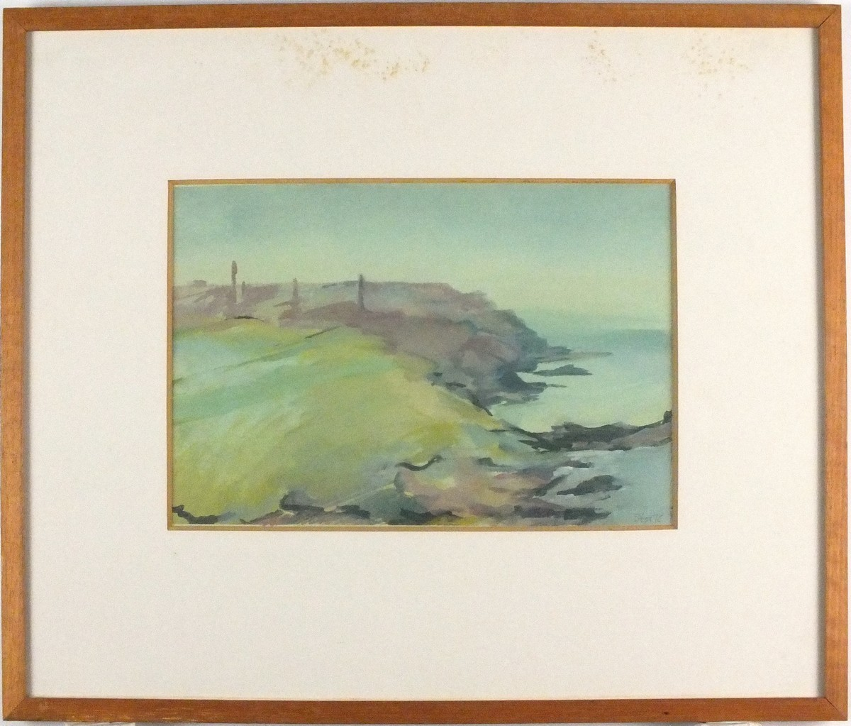 """Lot 11 - * Mary STORK (1938-2007), Watercolour / gouache, Cornish coast 'from Pendeen Watch', Signed, 7.25"""" x"""