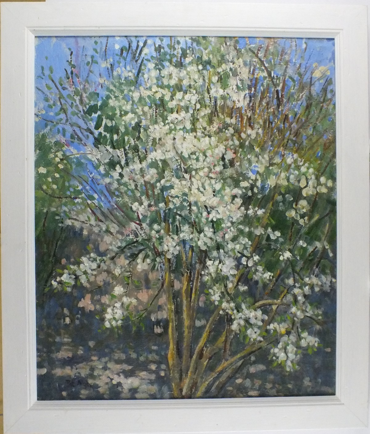 "Lot 44 - Pat ALGAR (1937-2013), Oil on canvas, 'White Blossom, Inscribed & signed to verso, Signed, 23.5"" x"