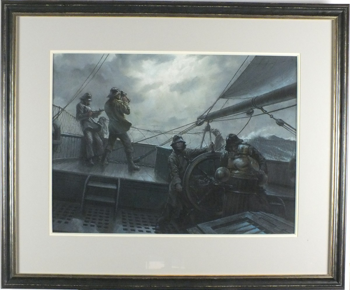 Lot 26 - * John GROVES (b.1937), Pastel, A break in the cloud - sailors battling a storm using a sextant