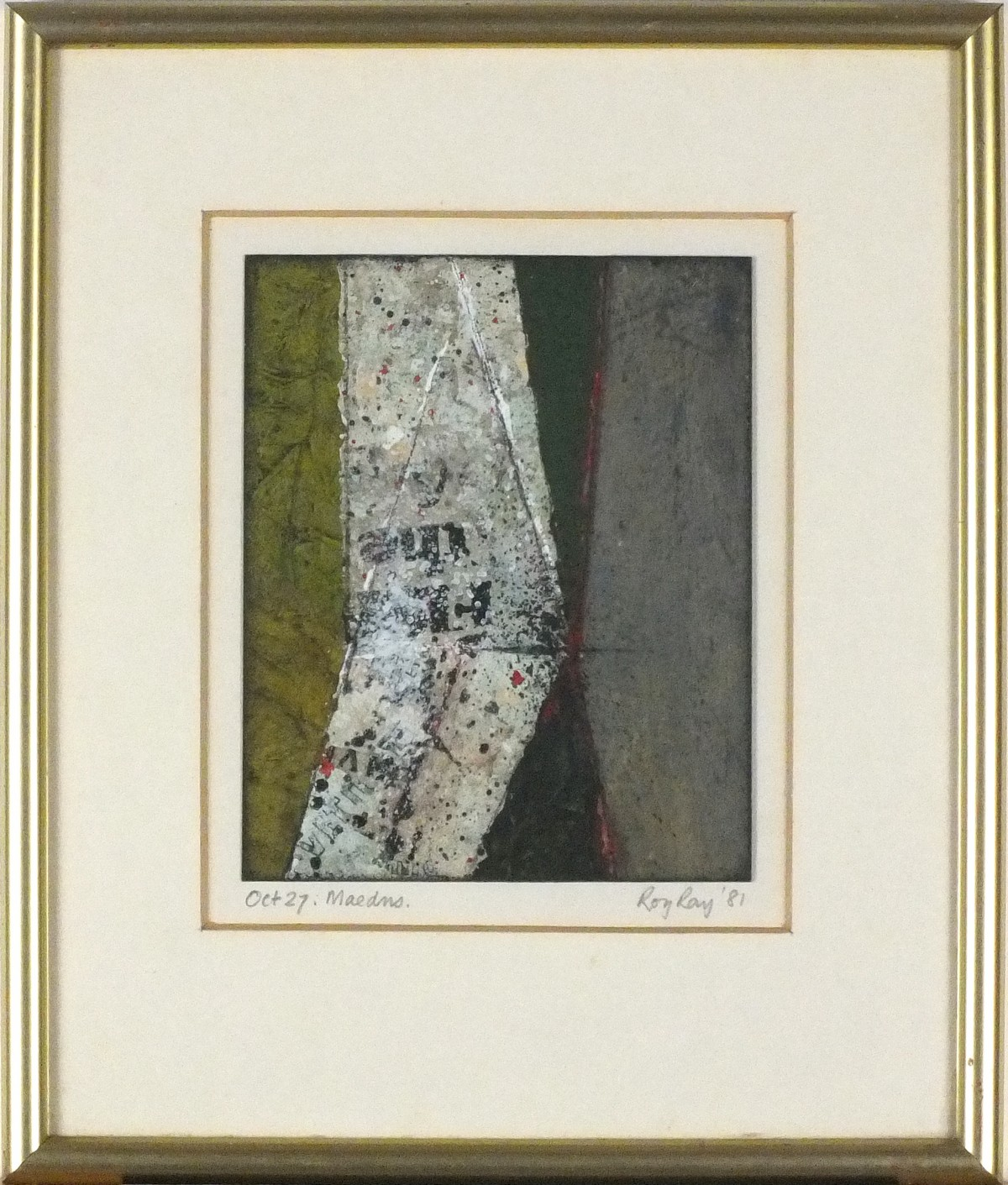 Lot 8 - * Roy RAY (b.1936), Mixed media on board, 'Maedns', Inscribed, signed & dated October 27 (19)81, 6.