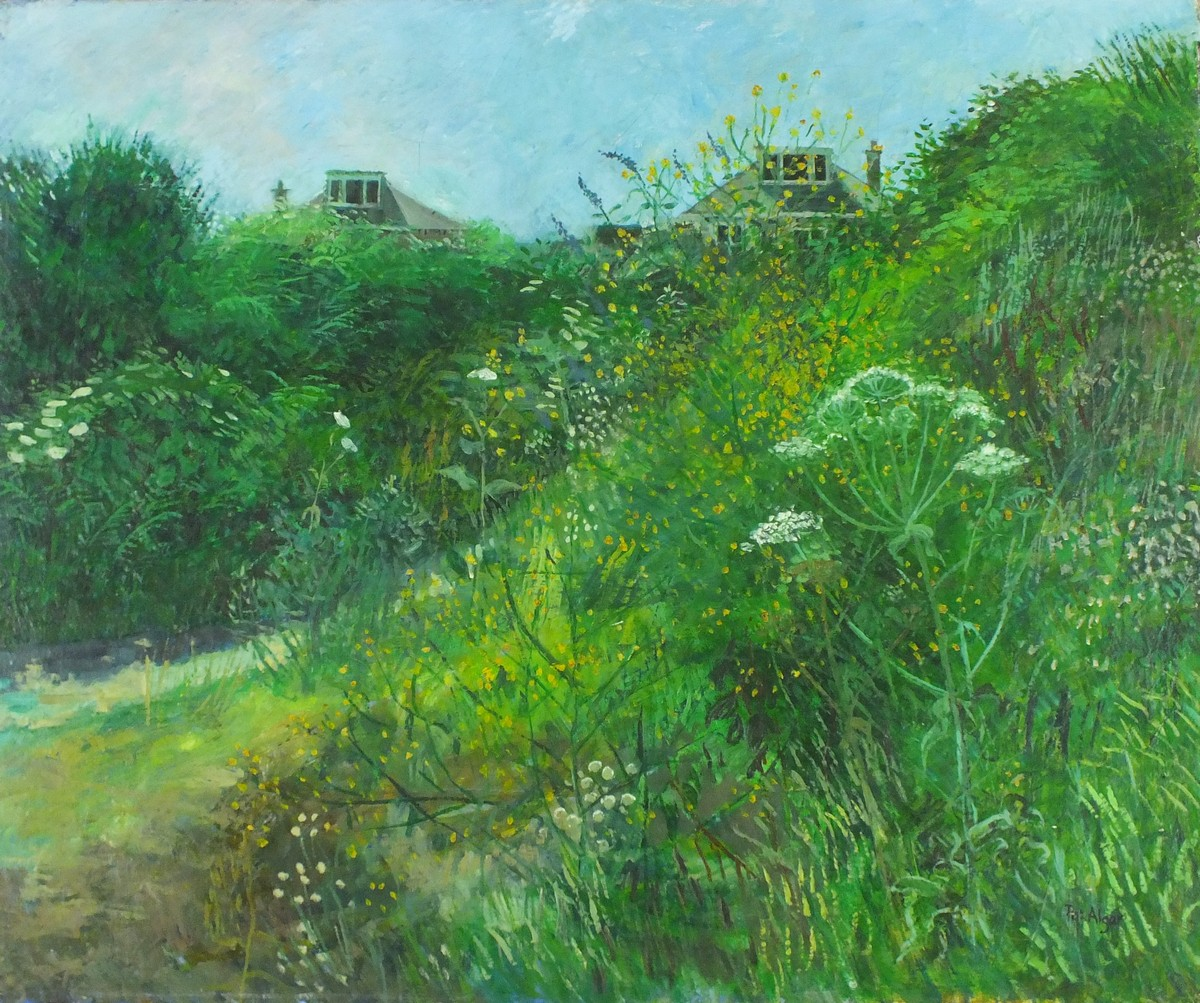 Lot 40 - Pat ALGAR (1937-2013), Oil on canvas, A wild corner of the garden (Wesley Place), Signed,