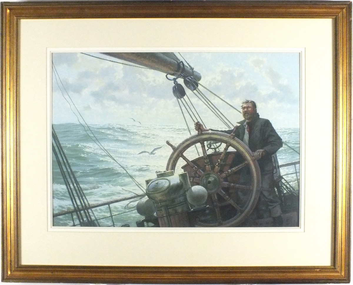 "Lot 25 - * John GROVES (b.1937), Pastel, The helmsman at the wheel sailing in a stiff breeze, Signed, 16"" x"