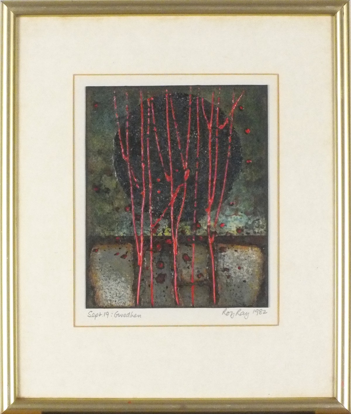 Lot 7 - * Roy RAY (b.1936), Mixed media on board, 'Gwedhen', Inscribed, signed & dated Sept 19th 1982, 6.75""