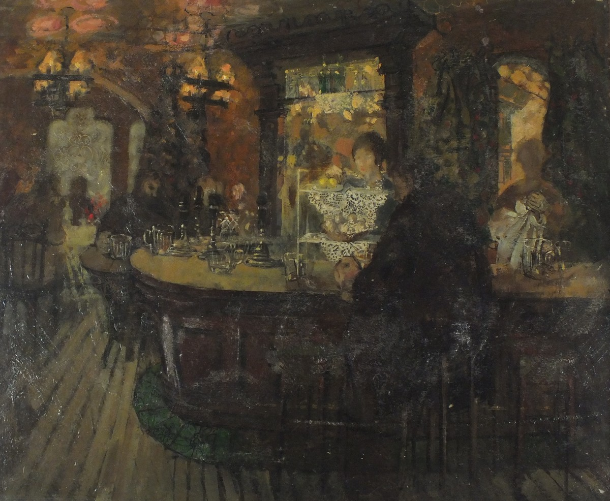 Lot 49 - Pat ALGAR (1937-2013), Oil on board, 'The Bar of the Prince of Wales', Signed P.M. Carr to verso,