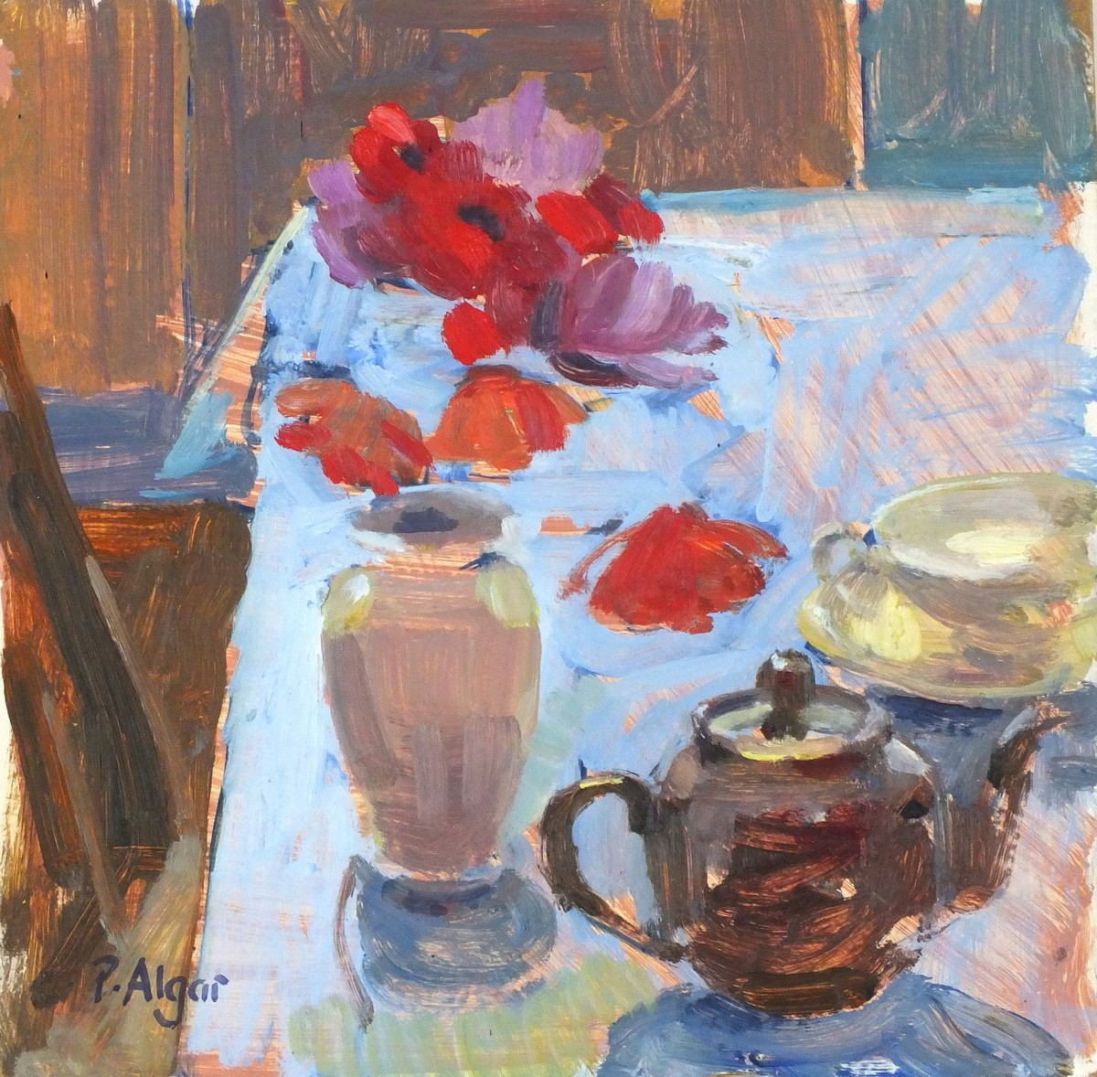 Lot 34 - Pat ALGAR (1937-2013), Oil on board, Still life - vase of poppies & tea pot on a kitchen table,