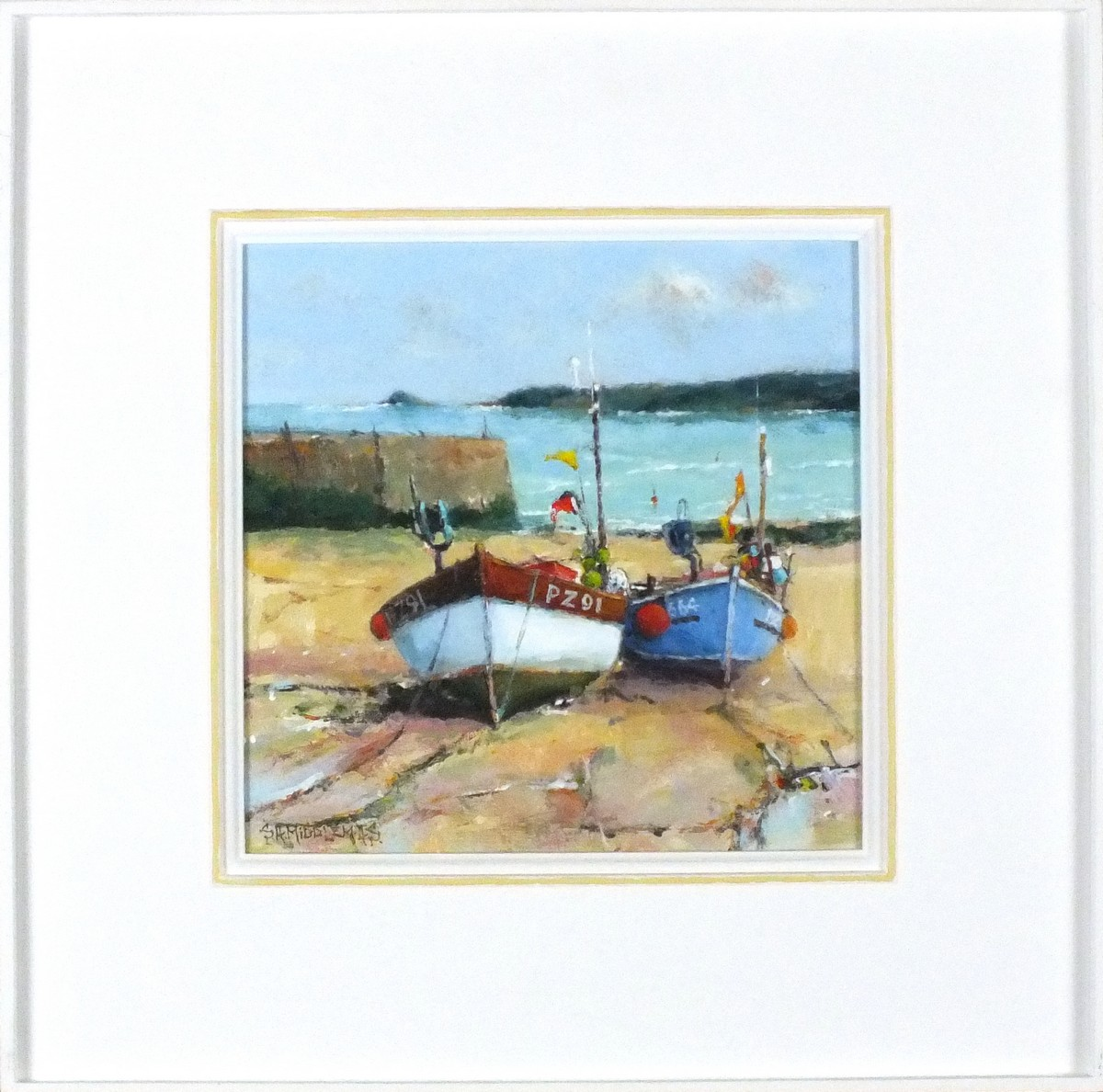 Lot 52 - * Stewart MIDDLEMAS (b.1944), Oil on board, 'Two Boats Sennen', Inscribed & dated 2011 to verso,