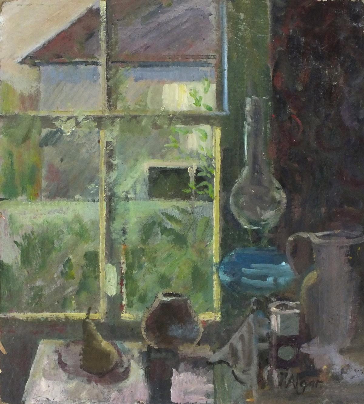 Lot 46 - Pat ALGAR (1937-2013), Oil on board, Still life - kitchen assortment & oil lamp before a window,
