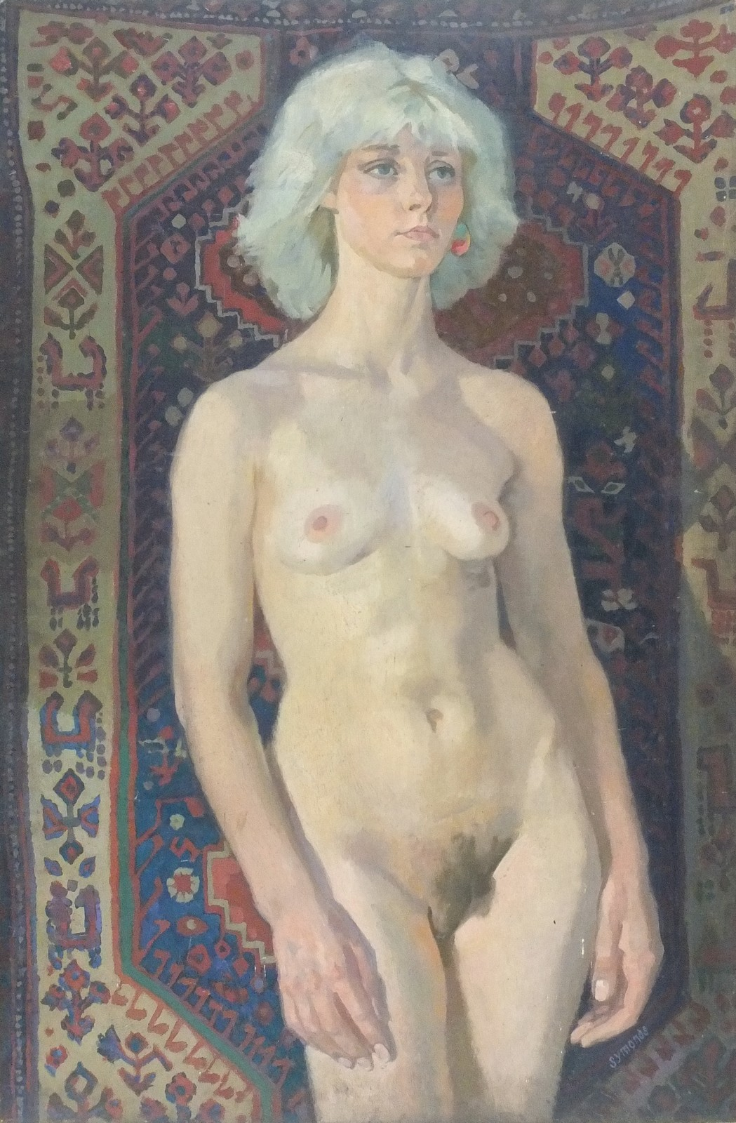 Lot 30 - * Ken SYMONDS (1927-2010), Oil on board, 'Kathy standing against rug', Inscribed to verso, Signed,
