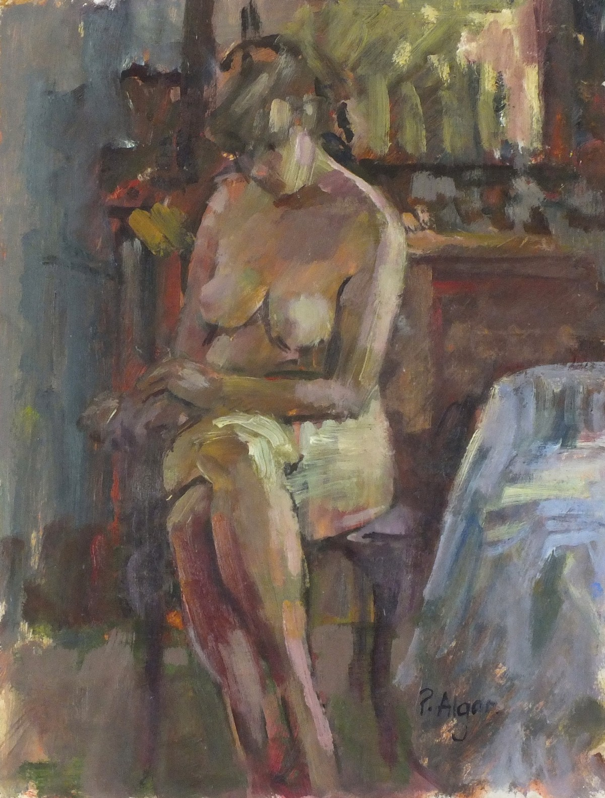 "Lot 39 - Pat ALGAR (1937-2013), Oil on board, Seated nude before a dressing table, Signed, Unframed, 10"" x"