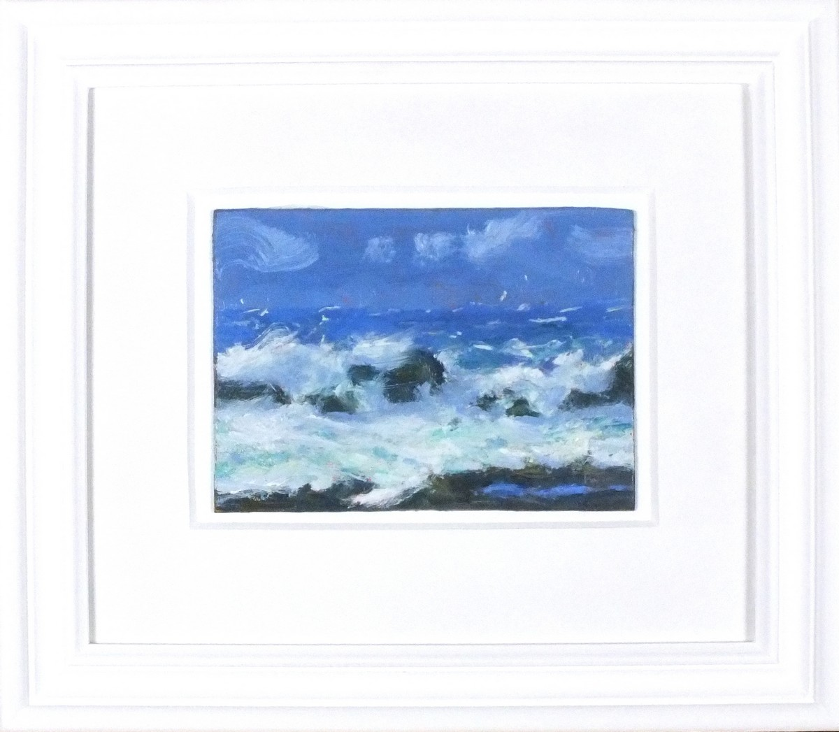 "Lot 51 - * Robert JONES (b.1943), Oil on board, 'Rocky Shore', Inscribed to verso, Signed with initials, 6"" x"