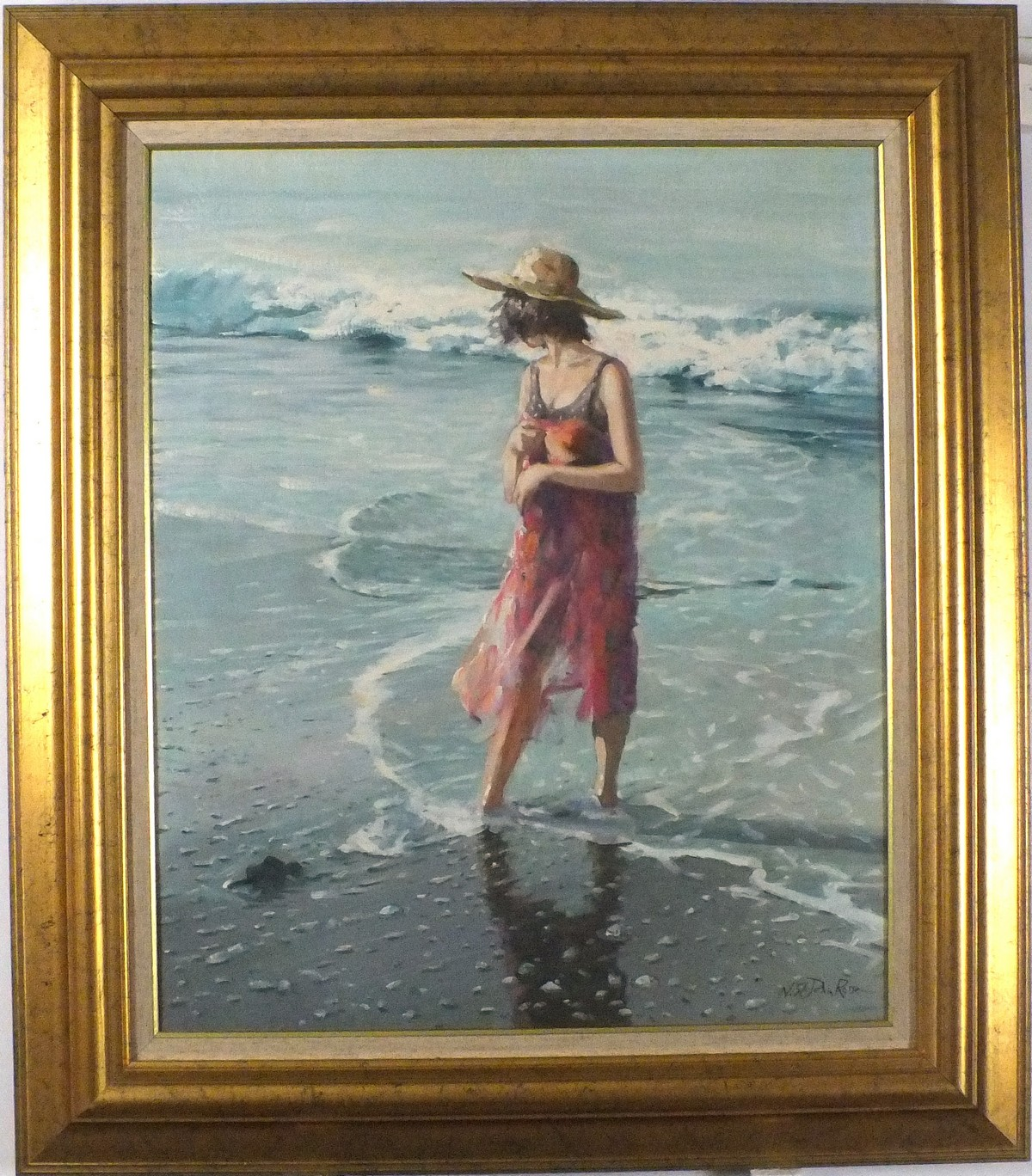 Lot 20 - * Nicholas St John ROSSE (b.1945), Oil on canvas, Cooling Waters - young woman paddling on a