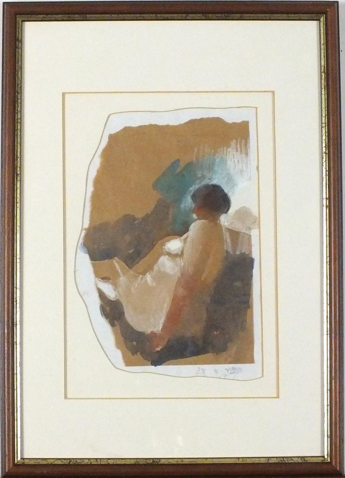 Lot 59 - * Kurt JACKSON (b.1961), Watercolour study on irregular shaped paper, Study of a seated female in