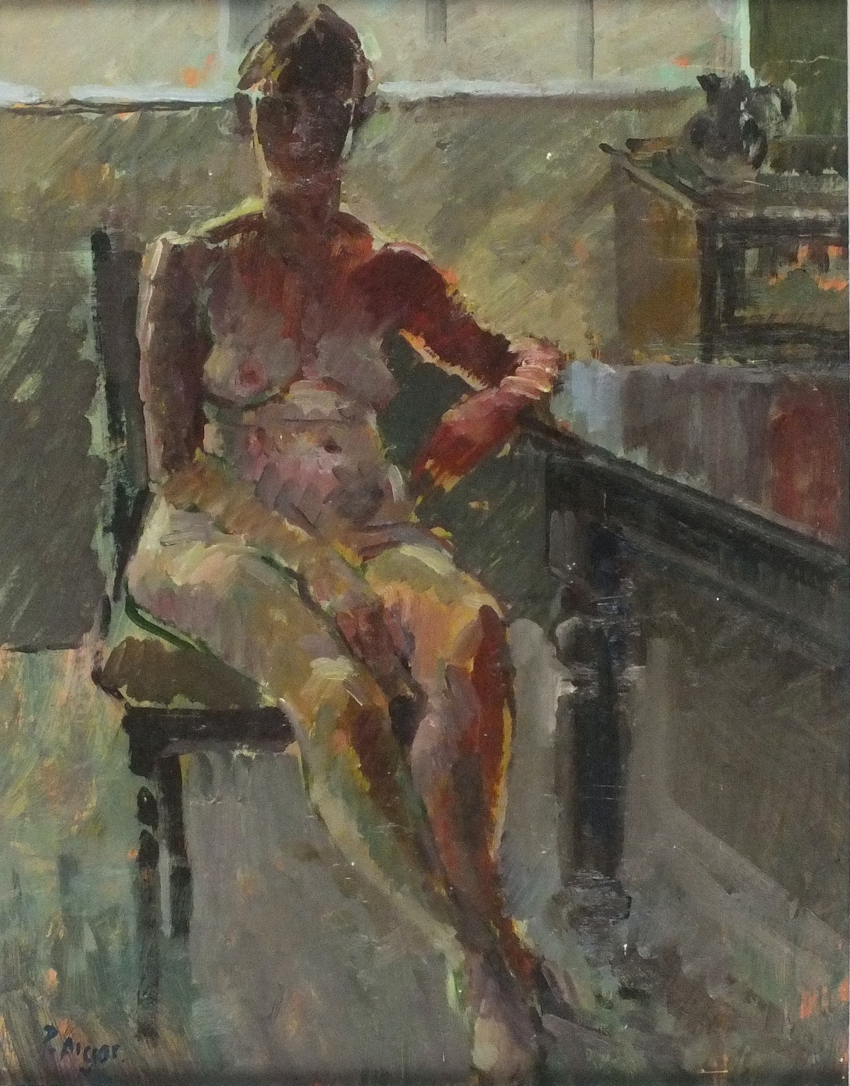 """Lot 38 - Pat ALGAR (1937/2013), Oil on board, Nude seated on a chair, Signed, 13.5"""" x 10.5"""" (34.3cm x 26."""