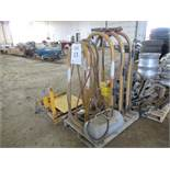 LOT OF ASSORTED TIRE REPAIR EQUIPMENT, B-BLASTERS, TIRE SPOONS, TIRE DOLLY, TIRE RACK
