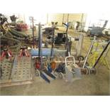 LOT OF ASSORTED HYDRAULIC JACKS & RAMPS