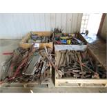 LOT OF ASSORTED PIPE WRENCHES, HAND TOOLS, PRY BARS, HAMMERS & GREESE GUNS