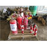 LOT OF ASSORTED FIRE EXTINGUISHERS
