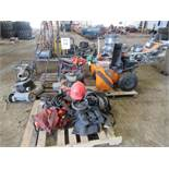 LOT OF ASSORTED GENERATORS, WATER PUMP, SNOW BLOWER, LAWN MOWERS & PROTECTIVE GEAR